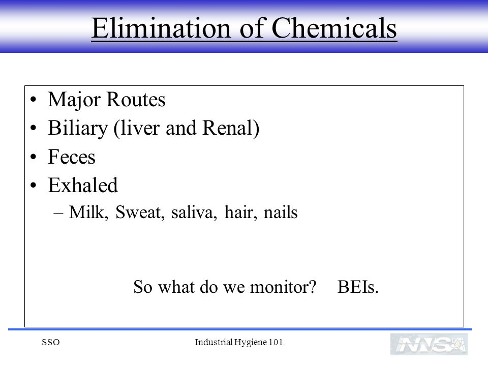 Elimination of Chemicals