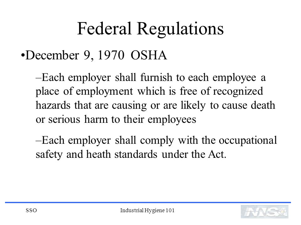Federal Regulations December 9, 1970 OSHA