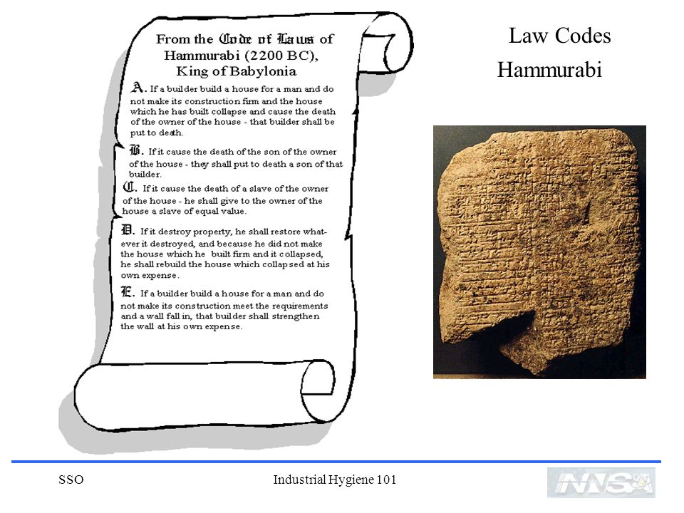 Law Codes Hammurabi SSO Industrial Hygiene 101