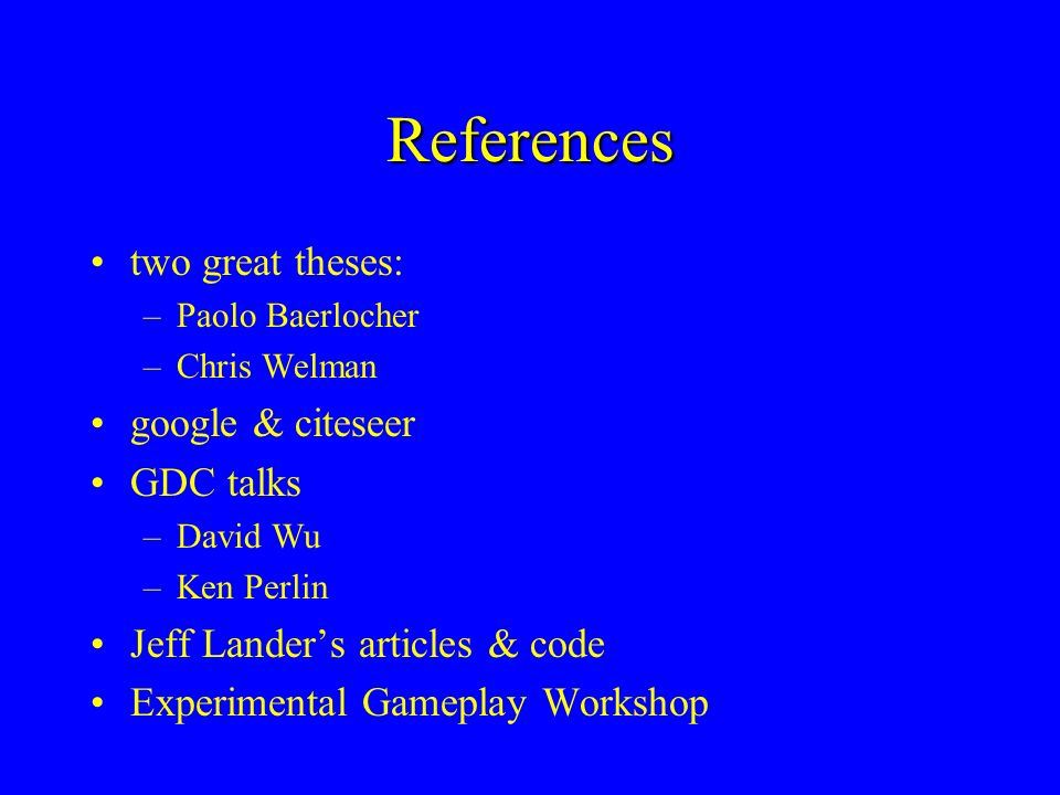 References two great theses: google & citeseer GDC talks