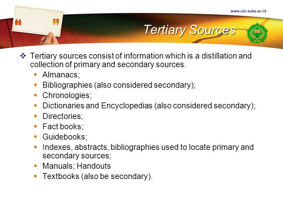 Tertiary Sources.