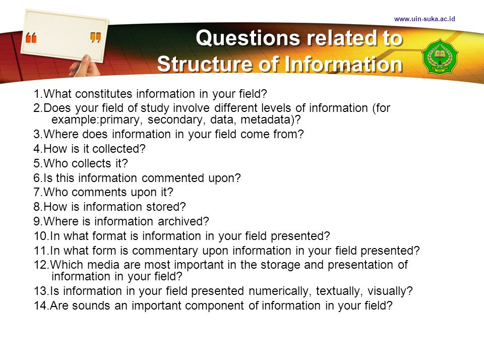 Questions related to Structure of Information