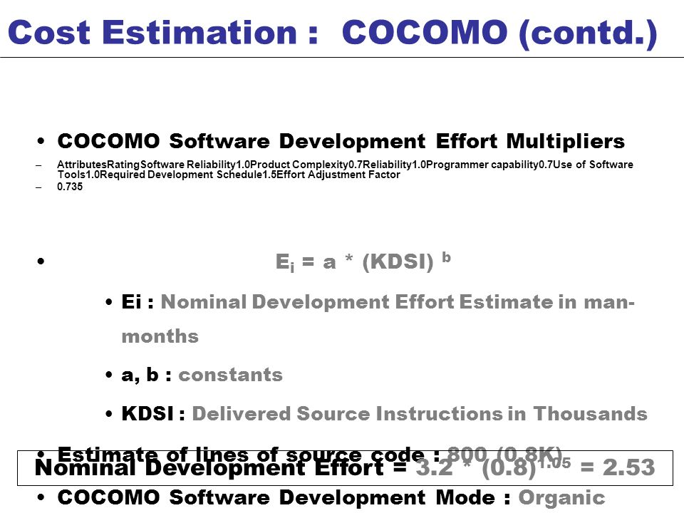Nominal Development Effort = 3.2 * (0.8)1.05 = 2.53