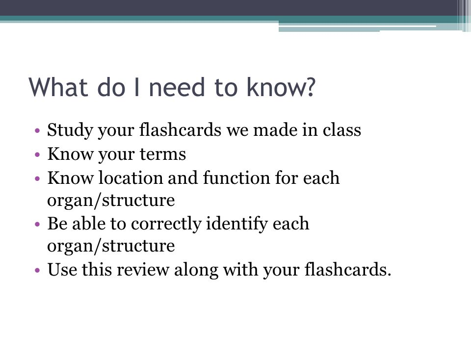 What do I need to know Study your flashcards we made in class