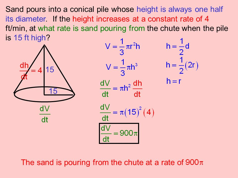 Sand pours into a conical pile whose height is always one half its diameter. If the height increases at a constant rate of 4 ft/min, at what rate is sand pouring from the chute when the pile is 15 ft high