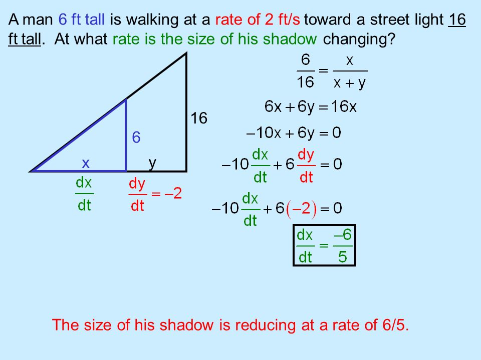 A man 6 ft tall is walking at a rate of 2 ft/s toward a street light 16 ft tall. At what rate is the size of his shadow changing