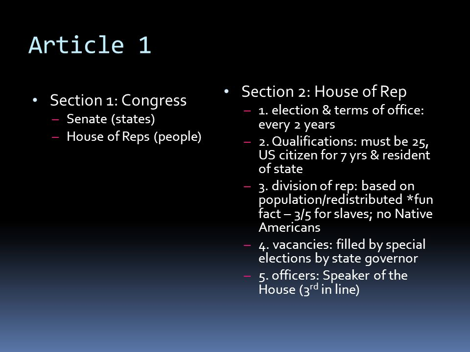 Article 1 Section 2: House of Rep Section 1: Congress