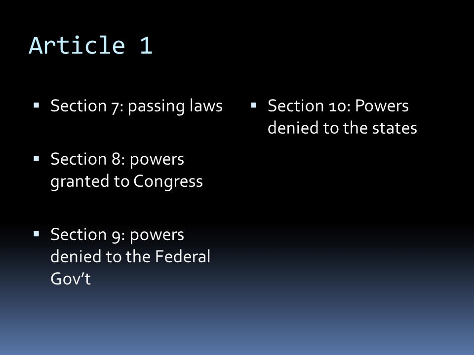 Article 1 Section 7: passing laws