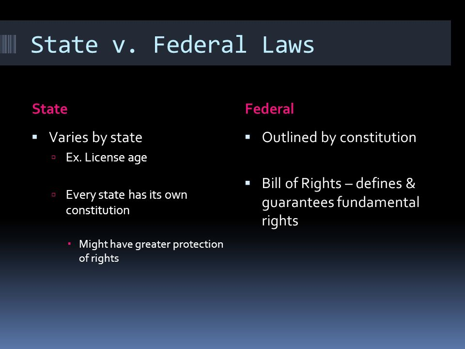 State v. Federal Laws State Federal Varies by state