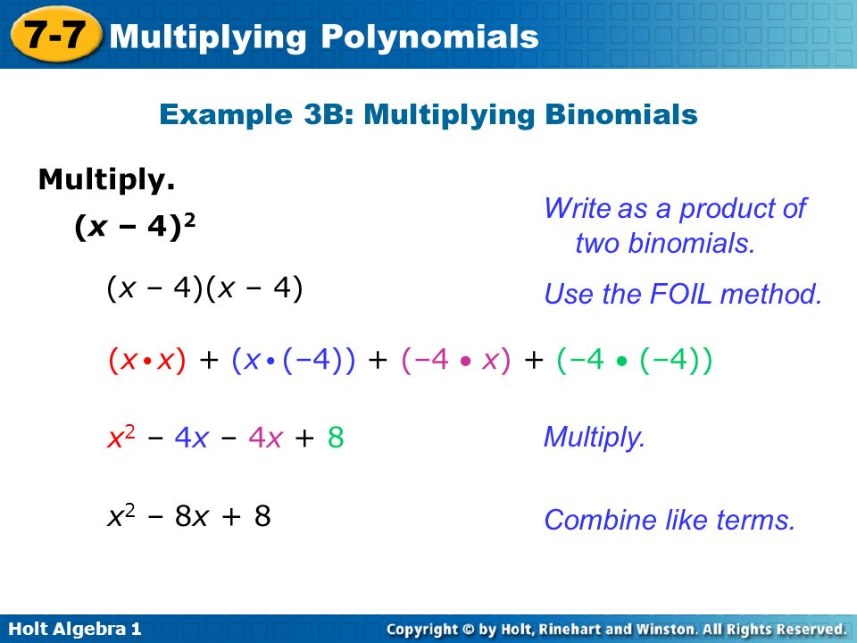 Example 3B: Multiplying Binomials