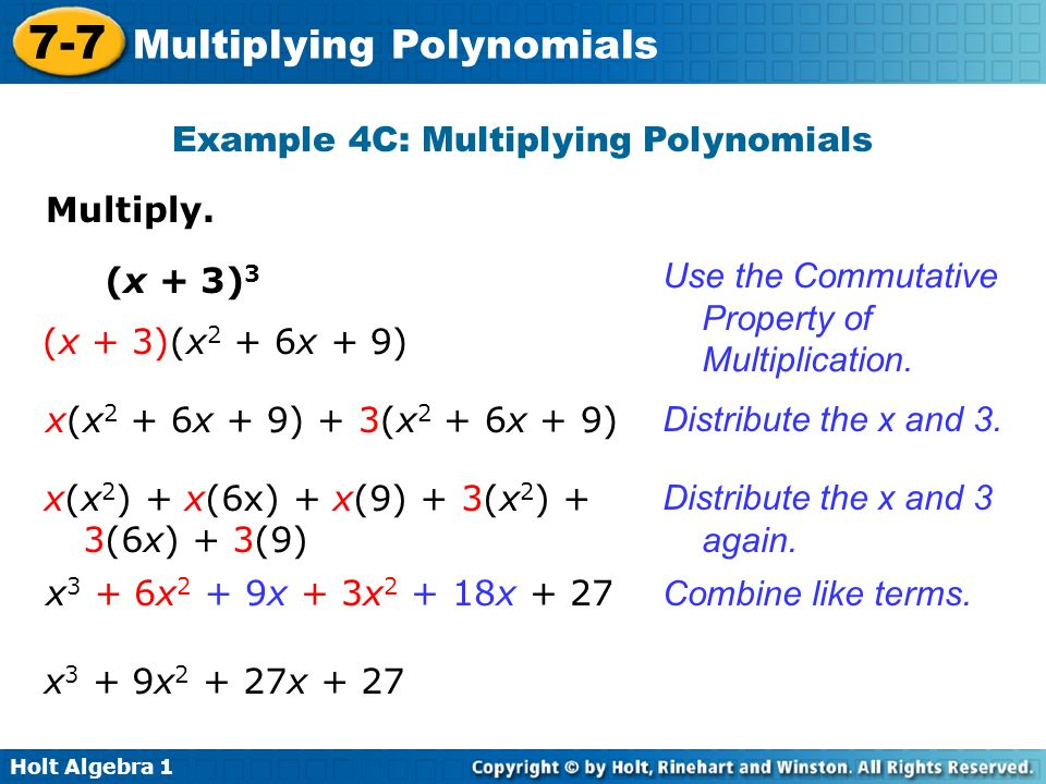 Example 4C: Multiplying Polynomials