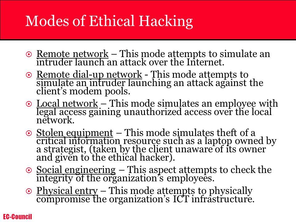 Modes of Ethical Hacking