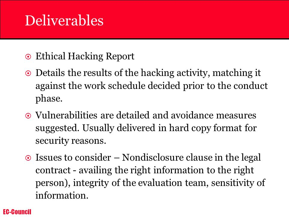 Deliverables Ethical Hacking Report