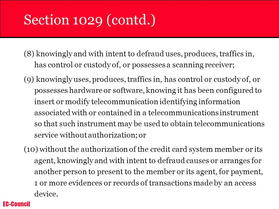 Section 1029 (contd.)