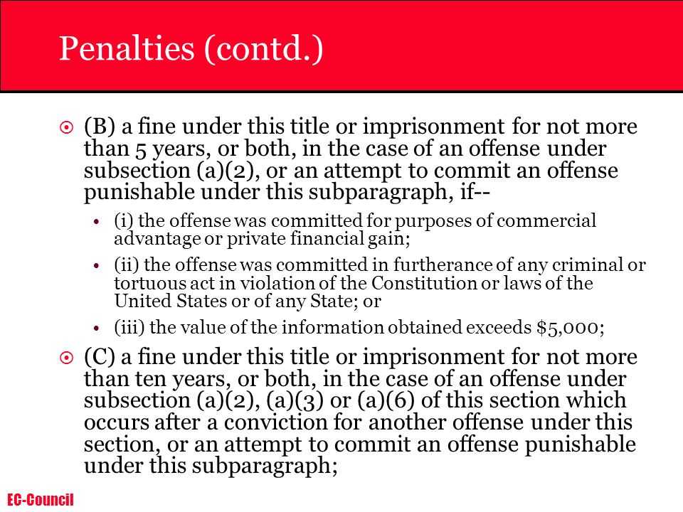 Penalties (contd.)