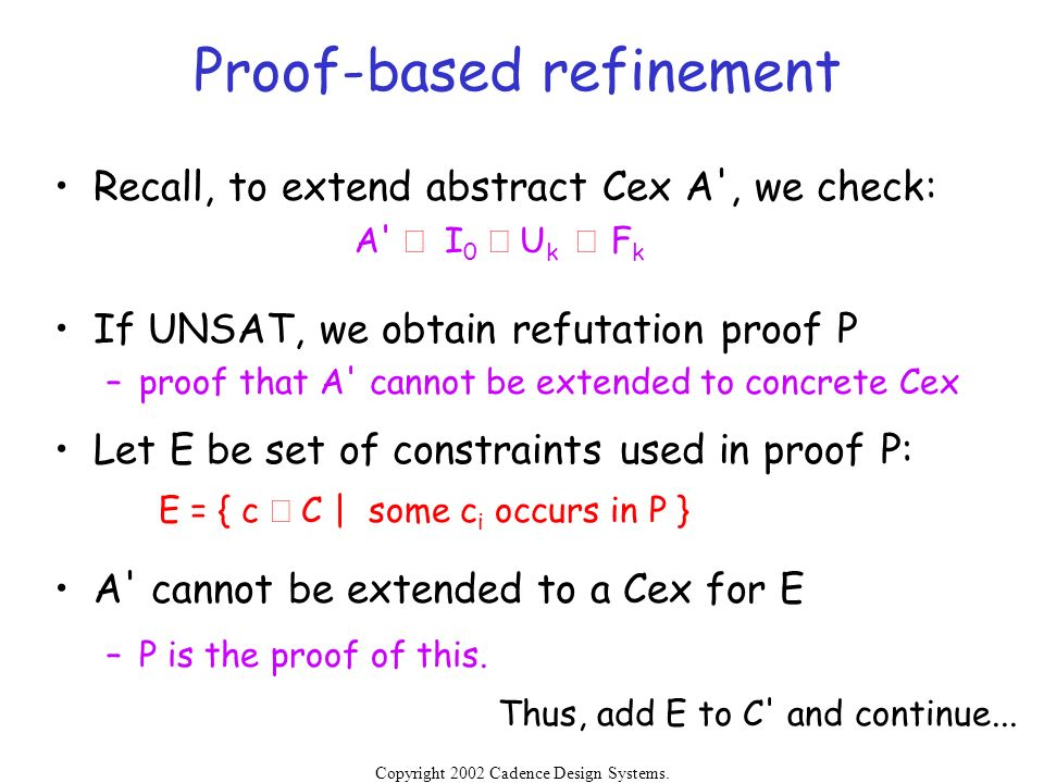 Proof-based refinement