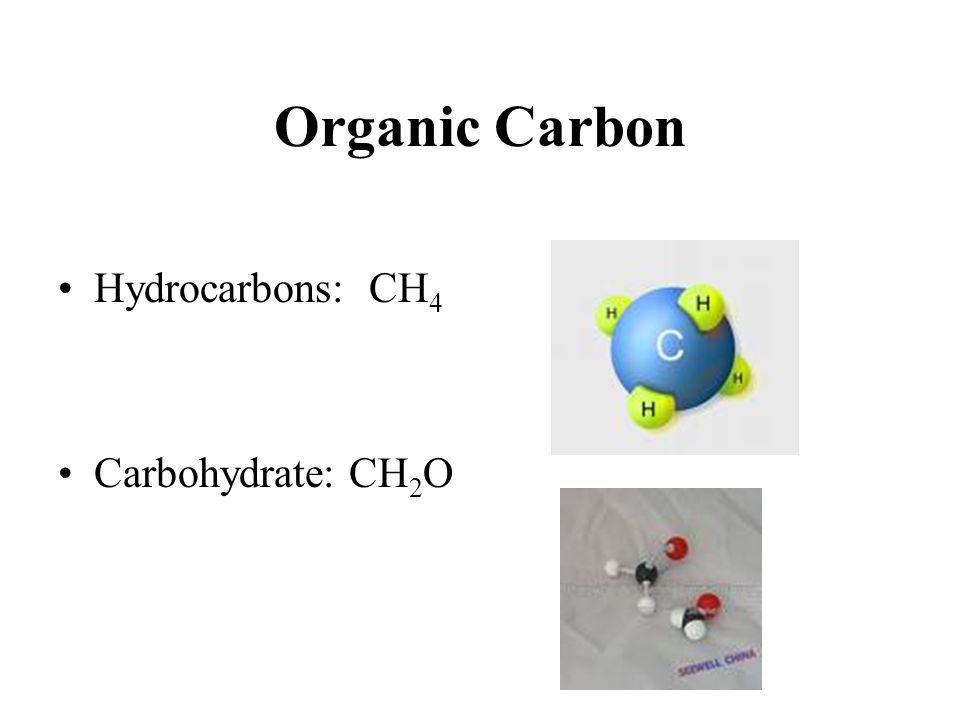 Organic Carbon Hydrocarbons: CH4 Carbohydrate: CH2O