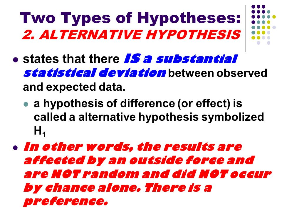Two Types of Hypotheses: 2. ALTERNATIVE HYPOTHESIS