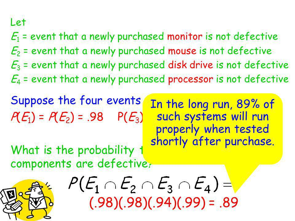 Let E1 = event that a newly purchased monitor is not defective. E2 = event that a newly purchased mouse is not defective.