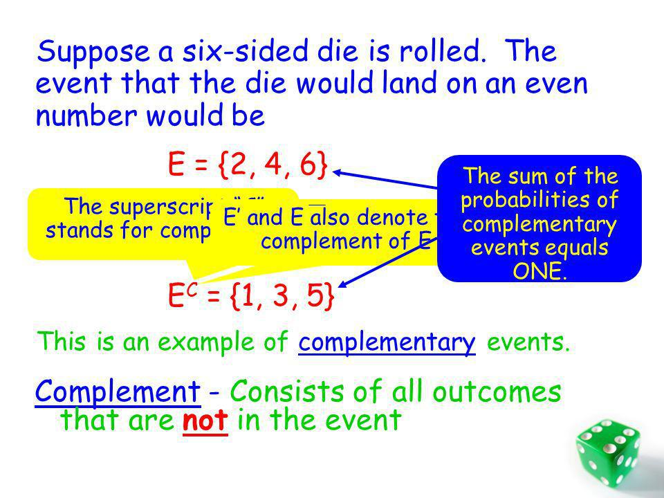 What would the event be that is the die NOT landing on an even number