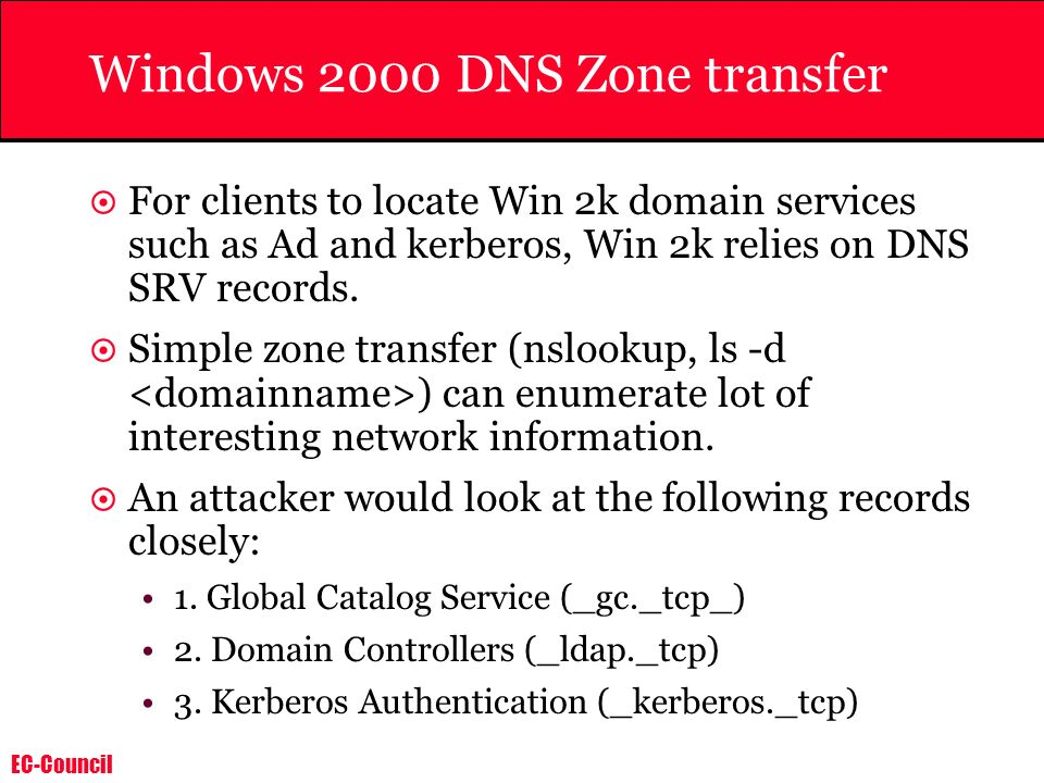 Windows 2000 DNS Zone transfer