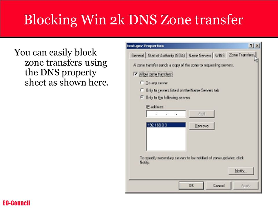 Blocking Win 2k DNS Zone transfer