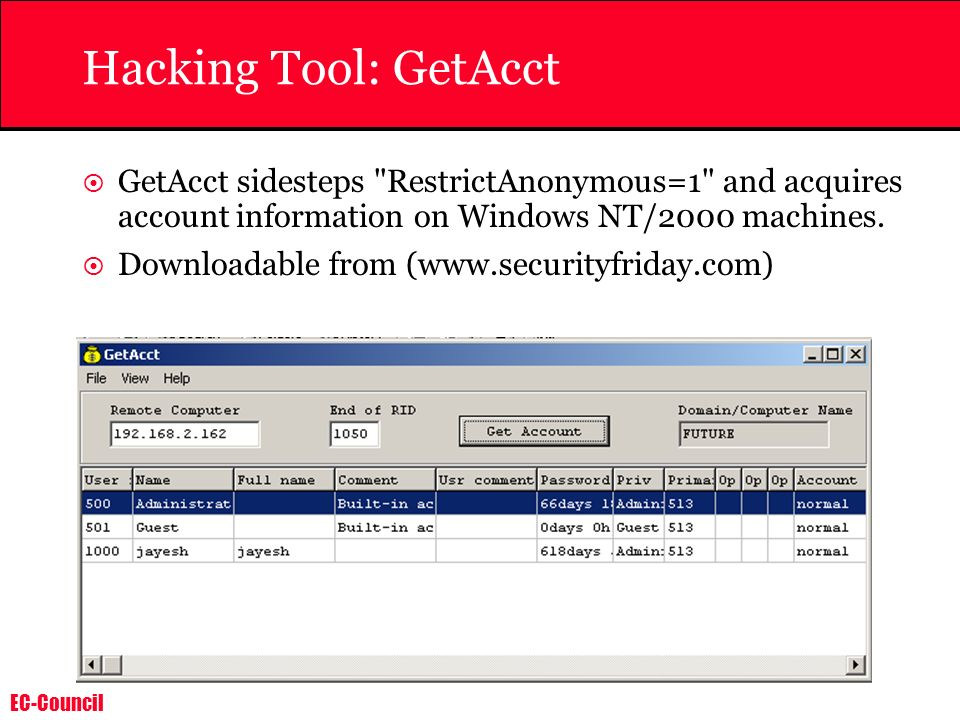Hacking Tool: GetAcct GetAcct sidesteps RestrictAnonymous=1 and acquires account information on Windows NT/2000 machines.