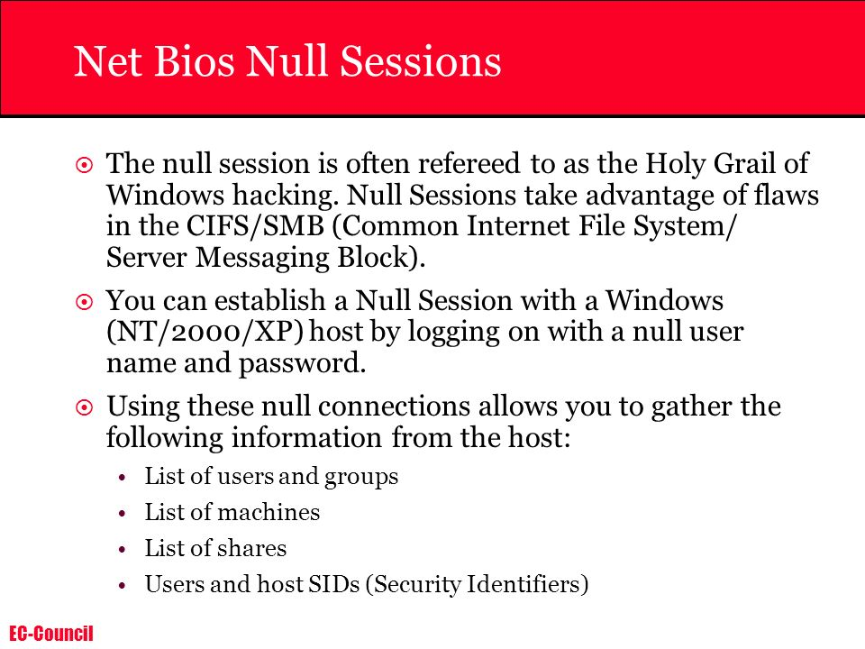 Net Bios Null Sessions