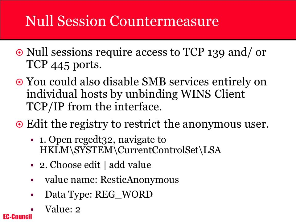 Null Session Countermeasure