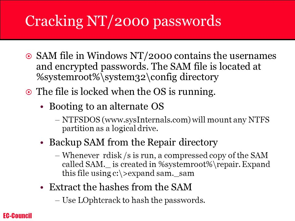 Cracking NT/2000 passwords