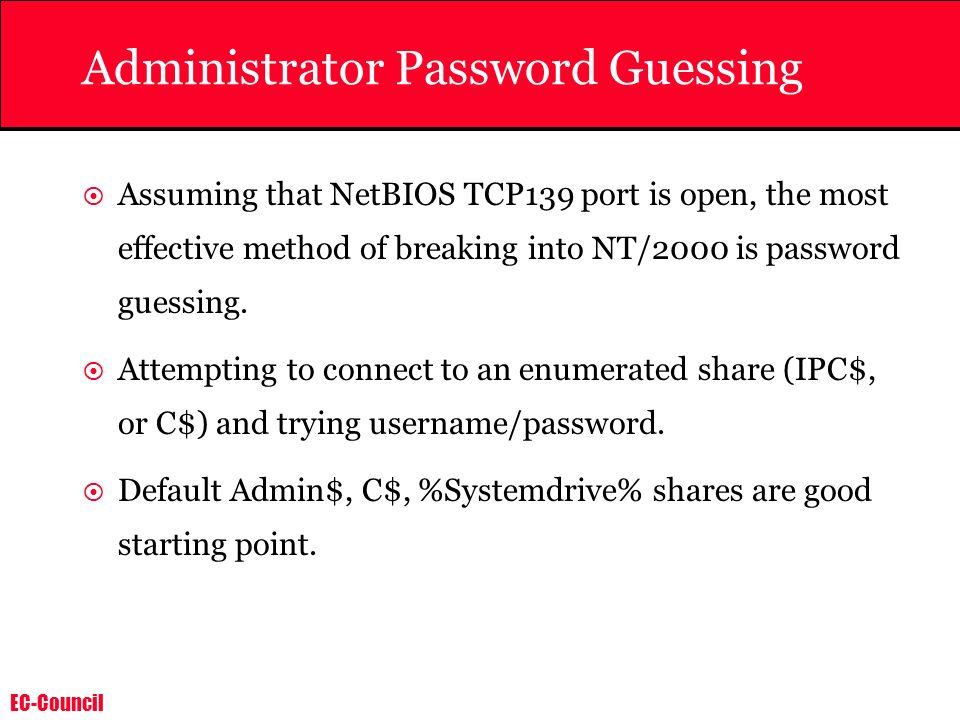 Administrator Password Guessing