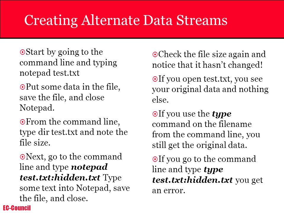 Creating Alternate Data Streams