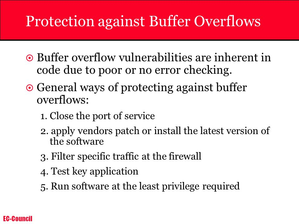 Protection against Buffer Overflows