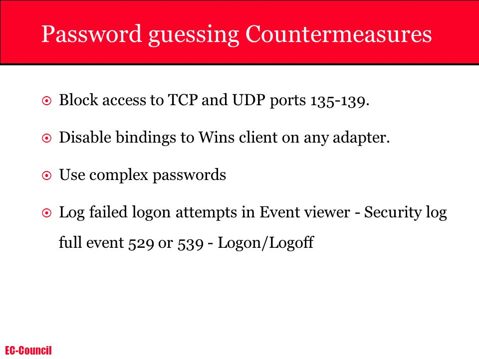 Password guessing Countermeasures
