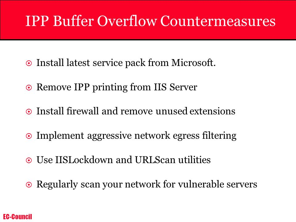 IPP Buffer Overflow Countermeasures