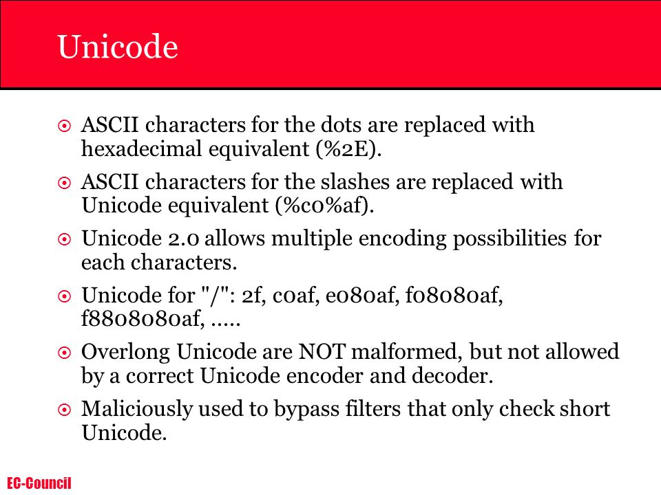 Unicode ASCII characters for the dots are replaced with hexadecimal equivalent (%2E).