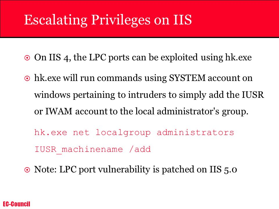 Escalating Privileges on IIS