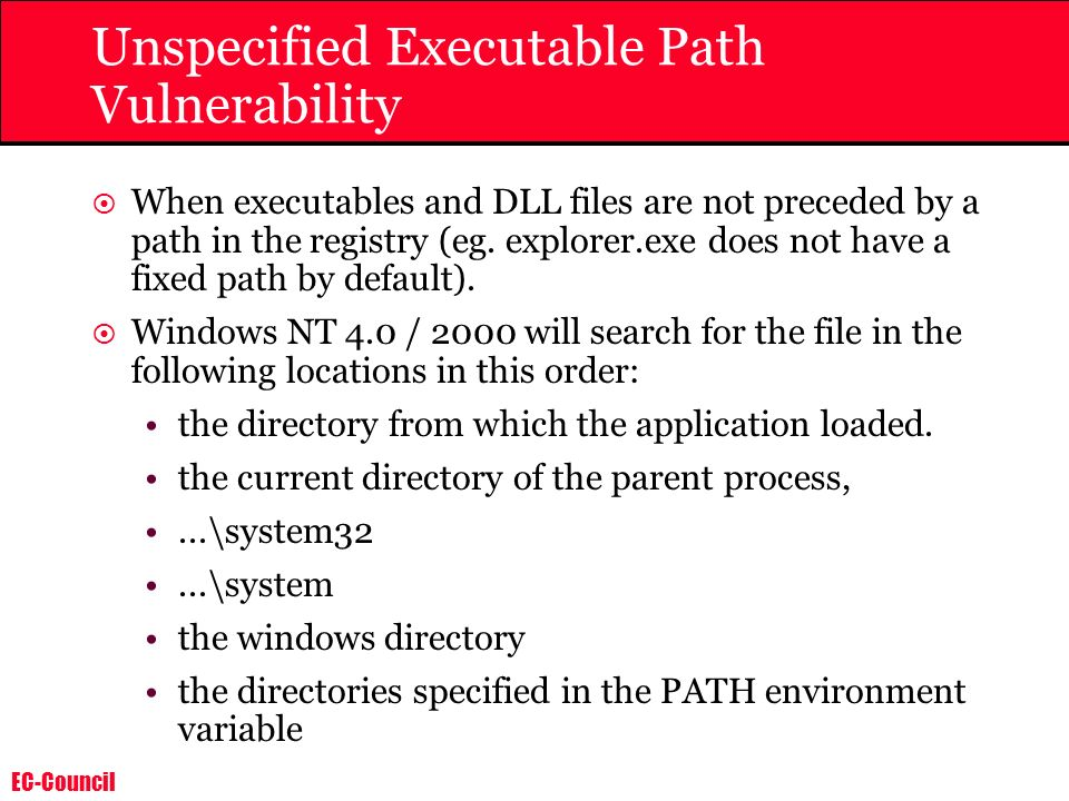 Unspecified Executable Path Vulnerability