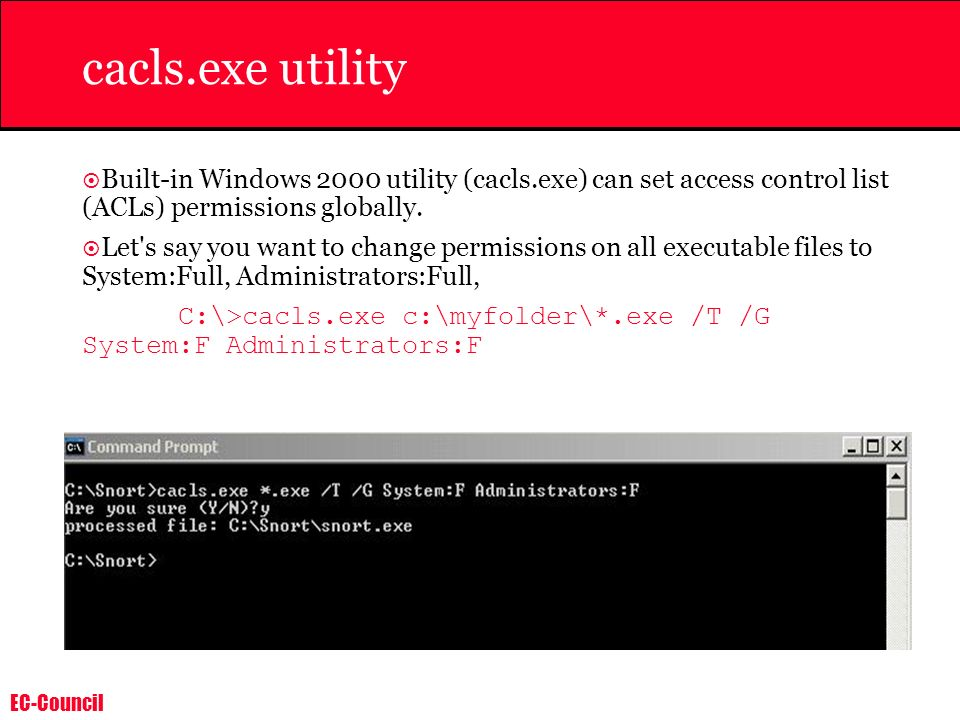 cacls.exe utility Built-in Windows 2000 utility (cacls.exe) can set access control list (ACLs) permissions globally.