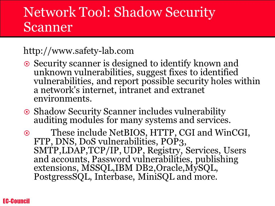 Network Tool: Shadow Security Scanner