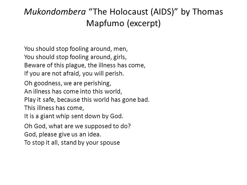 Mukondombera The Holocaust (AIDS) by Thomas Mapfumo (excerpt)