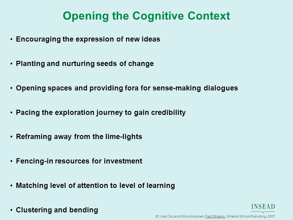 Opening the Cognitive Context