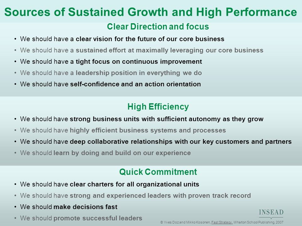 Sources of Sustained Growth and High Performance