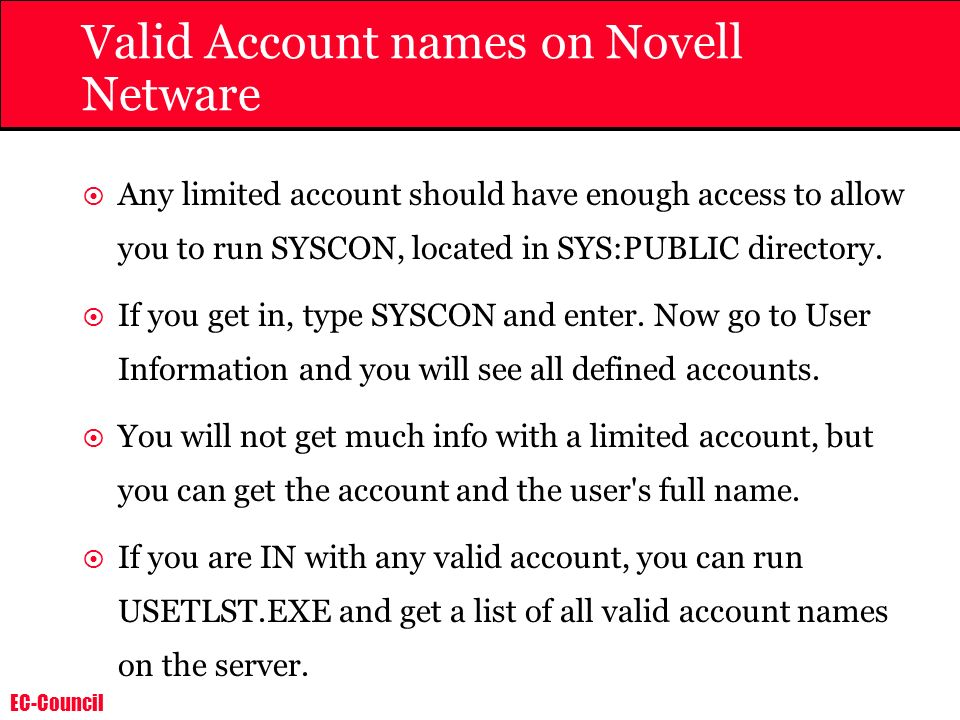Valid Account names on Novell Netware