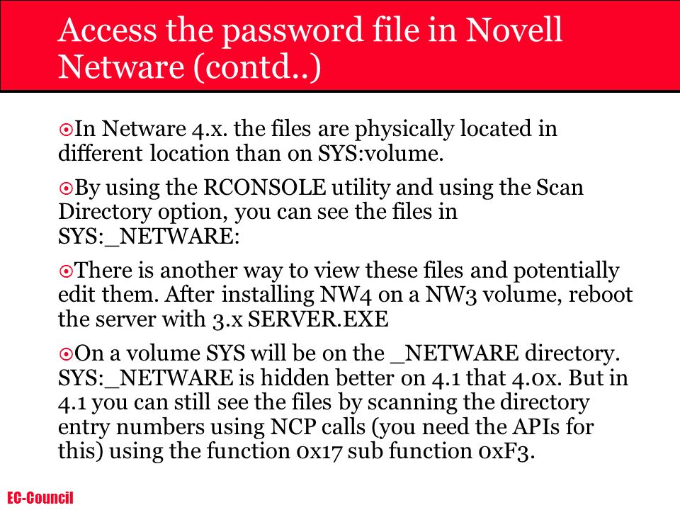 Access the password file in Novell Netware (contd..)