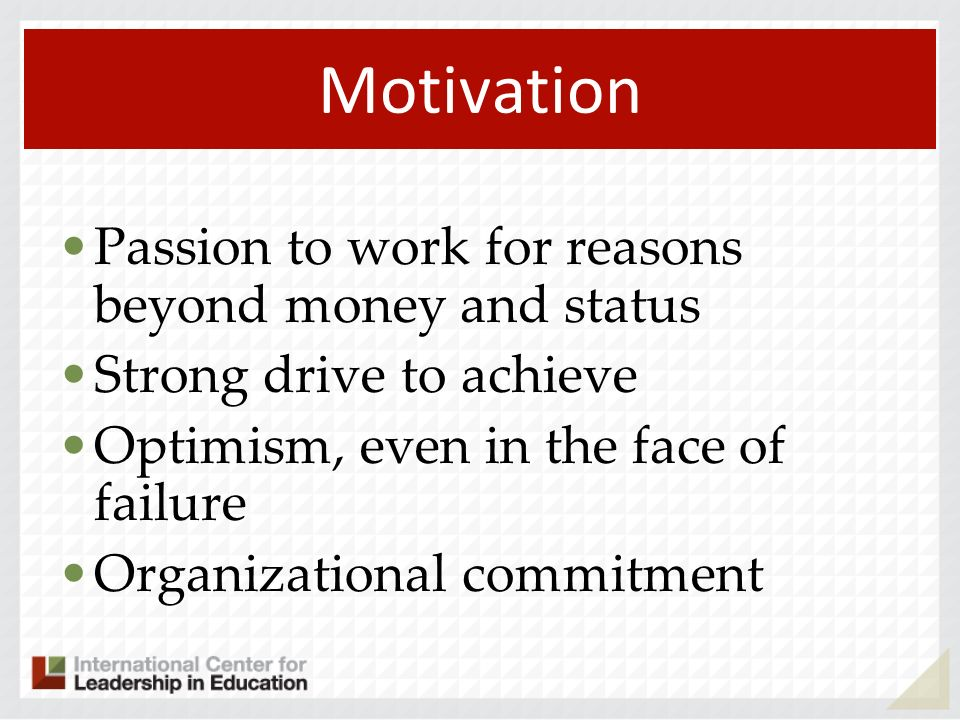 Motivation Passion to work for reasons beyond money and status