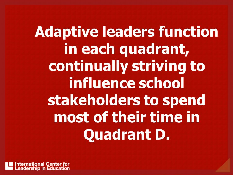 Adaptive leaders function in each quadrant, continually striving to influence school stakeholders to spend most of their time in Quadrant D.