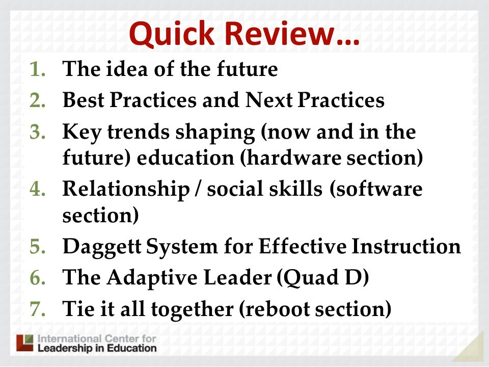 Quick Review… The idea of the future Best Practices and Next Practices