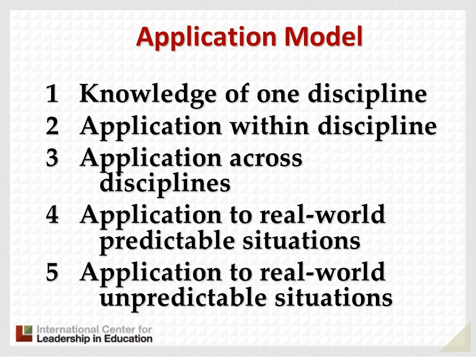 Application Model 1 Knowledge of one discipline