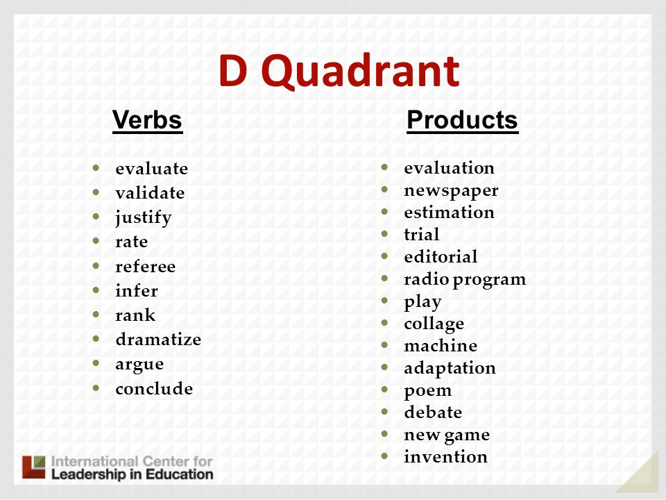 D Quadrant Verbs Products evaluation evaluate newspaper validate